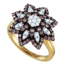 10KT Yellow Gold 1.06CTW COGNAC DIAMOND LADIES FLOWER RING #58955v2