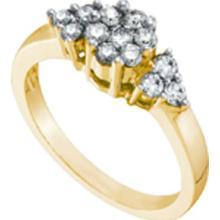 14KT Yellow Gold 0.50CTW ROUND DIAMOND FLOWER RING #64574v2