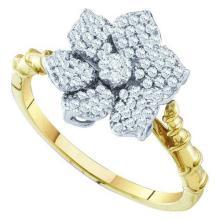 10K Yellow-gold 0.26CTW DIAMOND LADIES FLOWER RING #63960v2