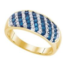 10KT Yellow Gold 0.70CTW BLUE DIAMOND MICRO-PAVE RING #54645v2
