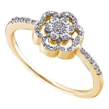 10KT Yellow Gold 0.10CTW DIAMOND FLOWER LADIES FASHION RING #56579v2