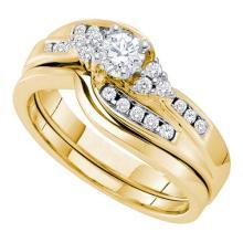 14KT Yellow Gold 0.50CT DIAMOND 0.20CT CENTER ROUND BRIDAL SET #61117v2