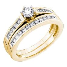 14KT Yellow Gold 0.75CTW DIAMOND 0.25CT CENTER ROUND BRIDAL SET #55226v2