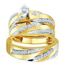 14K Yellow-gold 0.78CTW ROUND DIAMOND LADIES FASHION TRIO SET WITH 0.07CTW MARQUISE CENTER #56836v2