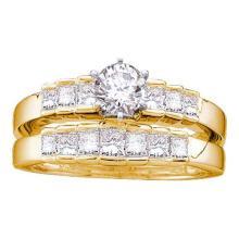 14KT Yellow Gold 1.00CTW DIAMOND 0.40CT ROUND CENTER BRIDAL RING #55108v2