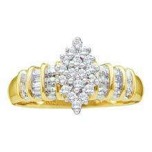 10KT Yellow Gold 0.25CTW DIAMOND LADIES CLUSTER RING #52099v2