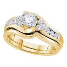 14K Yellow-gold 0.90CT DIAMOND 0.44CT ROUND CENTER BRIDAL SET #56674v2