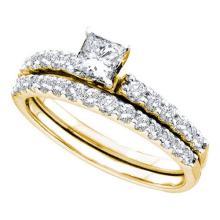 14KT Yellow Gold 1.0CTW DIAMOND 0.40CT CENTER PRINCESS BRIDAL SET #56658v2
