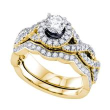 14K Yellow-gold 1.OCT DIAMOND 0.30CT CENTER ROUND BRIDAL RING #58648v2