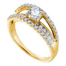 14K Yellow-gold 1.13CTW DIAMOND 0.50CTW CENTER ROUND BRIDAL RING #56429v2