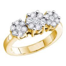 14K Yellow-gold 3.00CT DIAMOND FLOWER RING #55545v2