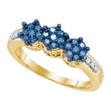 10K Yellow-gold 0.36CT BLUE DIAMOND 3 FLOWER RING #67964v2