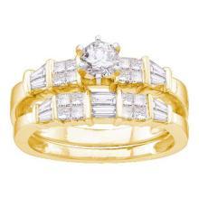 14KT Yellow Gold 1.00CTW DIAMOND 0.25CT CENTER ROUND BRIDAL SET #54980v2
