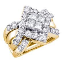 14K Yellow-gold 3.0CT DIAMOND INVISIBLE BRIDAL SET #56439v2