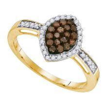 10K Yellow-gold 0.33CTW COGNAC DIAMOND FASHION RING #54347v2