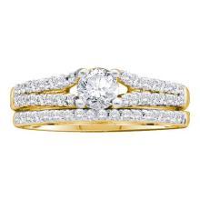 14KT Yellow Gold 0.75CTW DIAMOND 0.33CT CENTER ROUND BRIDAL SET #55970v2