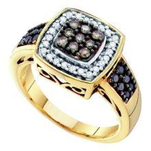 14KT Yellow Gold 0.50CTW COGNAC DIAMOND LADIES FASHION RING #54481v2