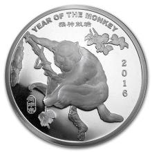 2 oz Silver Round -(2016 Year of the Monkey) #52601v3