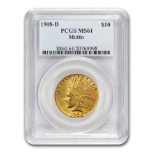1908-D $10 Indian Gold Eagle w/Motto MS-61 PCGS #52535v3