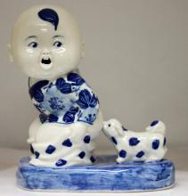 Chinese Porcelain Blue & White Child getting bitten by  #74134v1