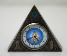 MASONIC PYRAMID CLOCK W/ TEMPLE ON BACK #70557v1