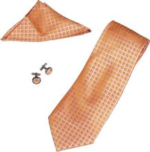 TORIZ ORANGE PATTERN TIE, CUFFLINKS AND POCKET SQUARE S #70571v1