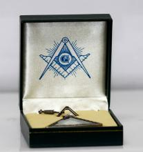 Masonic Pyramid blue dial table clock w/Gift Box and Chain Included #50389v1