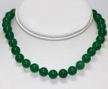 Narutal Chinese Green Jade Necklace w/14k Yellow Gold C #50184v1