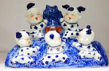 Chinese Porcelain Blue & White Figure kids playing #74131v1