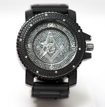 MODERN STUDDED BLACK MASONIC WATCH W/CORE SYMBOL  #68352v1