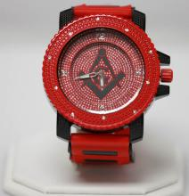 RED AND BLACK MASONIC WATCH W/ STUDDED SILVER #68370v1
