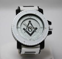 INTRIGUING STUDDED WHITE MASONIC WATCH W/ MASONIC G SYM #68356v1
