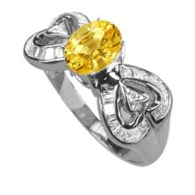 GENUINE 1.44 CTW HEAT TREATED YELLOW SAPPHIRE AND DIAMOND RING IN SOLID 18K WHITE GOLD COLOR G-H CLARITY VS1-SI1 #50076v2