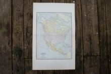 GENUINE AUTHENTIC 1885 MAP OF NORTH AMERICA #70729v2