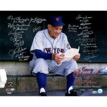1962 New York Mets Multi-Signed Casey Stengel Ole Professor Color On Bench 16x20 Photo w/ Inscriptions (18 Signatures) (MLB Auth) #71948v2