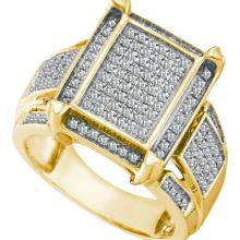 925 Sterling Silver Yellow 0.45CTW DIAMOND MICRO-PAVE RING #58502v2