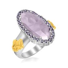 18K Yellow Gold & Sterling Silver Oval Amethyst Fleur De Lis Ring #93786v2