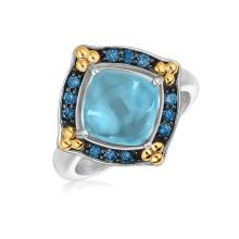 18K Yellow Gold and Sterling Silver Ring with Blue Topaz and Blue Sapphires #93112v2