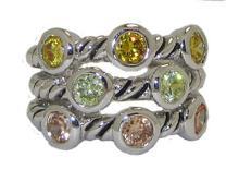 Light Multi Triple Cable Ring Austrian Crystal #90218v2