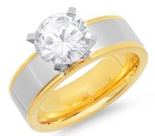 Stainless Steel Solitaire Ring with Simulated Diamond #90612v2