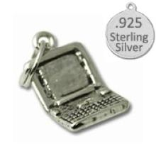 925 Sterling Silver Lap top Computer charm #90963v2