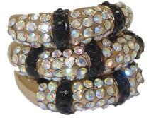 Gold Stack Ring Jet Black & AB Crystals. #90277v2