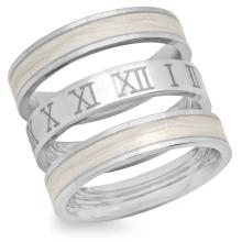 3 Stainless Steel Rings with Roman Numbers #90326v2