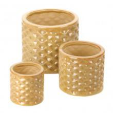 Taupe Faceted Planter Trio #96371v2