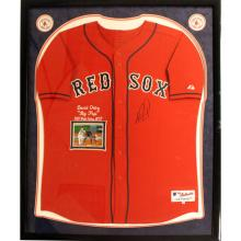 David Ortiz Elite Framed Signed Authentic Red Sox Alternate Red Jersey w/ Stitched 2013 World Series Stats #49444v2
