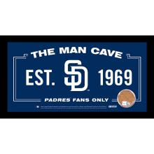 San Diego Padres Man Cave Sign 6x12 Framed Photo With Authentic Game-Used Dirt Capsule (MLB Auth) #49446v2