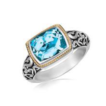 18K Yellow Gold and Sterling Silver Rectangular Blue Topaz Milgrained Ring #91604v2