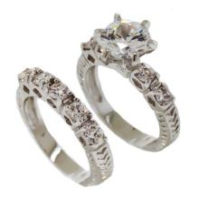 Clear White CZ double band ring #90213v2