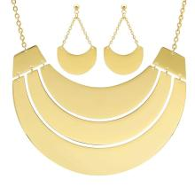 18 Karat Gold Plated Earring and Necklace set on Stainless Steel #89412v2