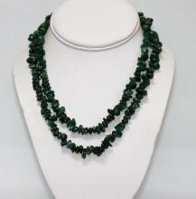 340.01 CTW Natural Un-Cut Beaded Emerald Necklace #49265v1